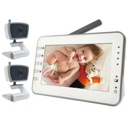 """4.3"""" LARGE LCD Video Baby Monitor Two Cameras Pack W Power S"""
