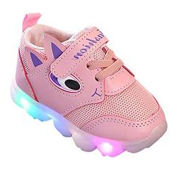 Axinke Little Kids Casual Lace-up LED Light Breathable Mesh
