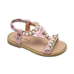 Axinke Summer Casual Open Toe Beaded Rhinestone Flat Roman S
