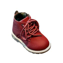 Axinke Toddler Girls Boys Warm Shoes PU Leather Lace-up Ankl