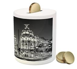 Black and White Coin Box Bank by Ambesonne, Madrid City at N