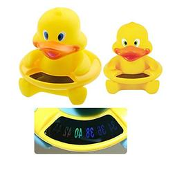 Enshey Baby Bath Floating Duck Toy and Bath Tub Thermometer