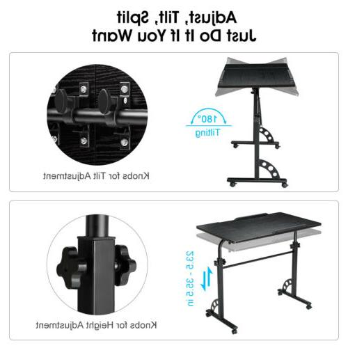 Angle Height Rolling Laptop Over Bed Side Table Stand Home