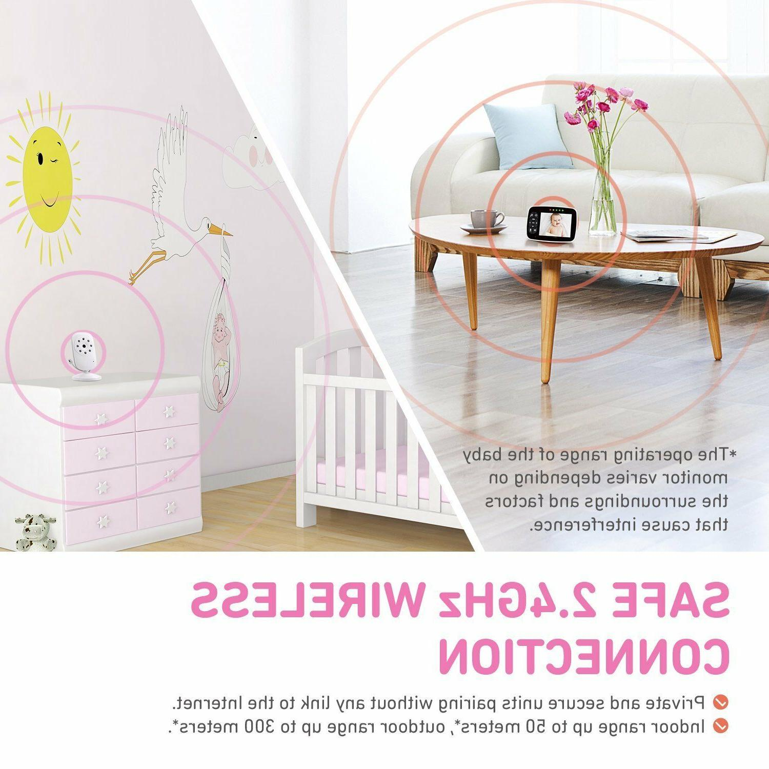 """3.5"""" Baby Monitor Home Security 2-Way Audio Night Vision"""