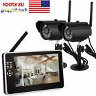 "7"" LCD 4CH 2.4G Wireless WIFI Monitor 2 Cameras Home Securit"
