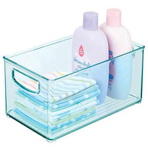 """mDesign Deep Organizer Container, Handles for Supplies in Pantry, Nursery, Holds Food, Diapers, Wipes, - 10"""" - Sea"""