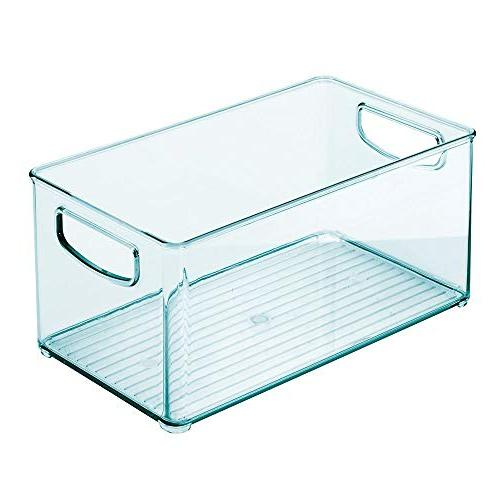 """mDesign Storage Container, Handles Supplies in Nursery, Holds Snacks, Food, Wipes, - 10"""" Long Sea Blue"""