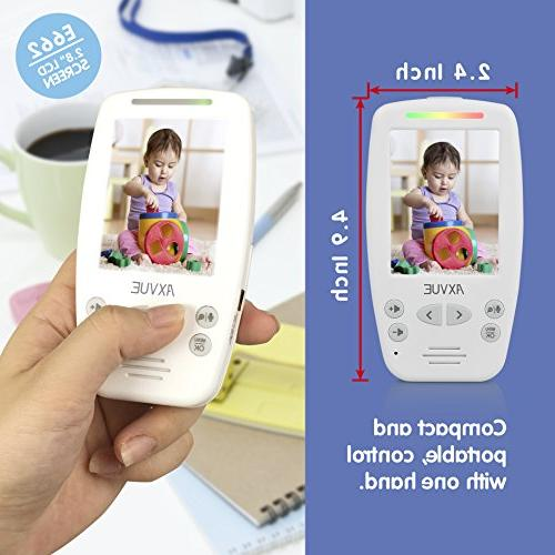 """AXVUE Video Baby Monitor and 2.8"""" LCD, Night Vision, Light, Temperature Detection, 2-Way Talk, VOX, Sound Saving On/Off, Cam"""