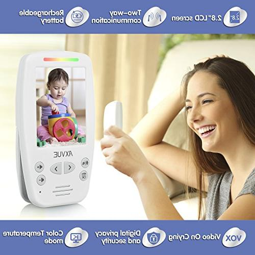 """AXVUE E662 Video Baby Monitor with Two and 2.8"""" Vision, Temperature Sound Lights, Power Saving On/Off, Expandable"""