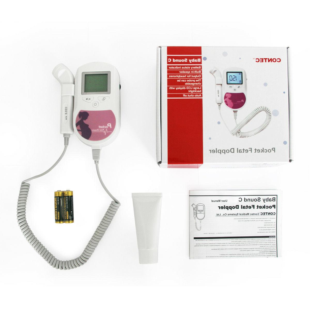 Fetal Doppler Heart beat Pocket Prenatal Health Monitor 3MH LCD