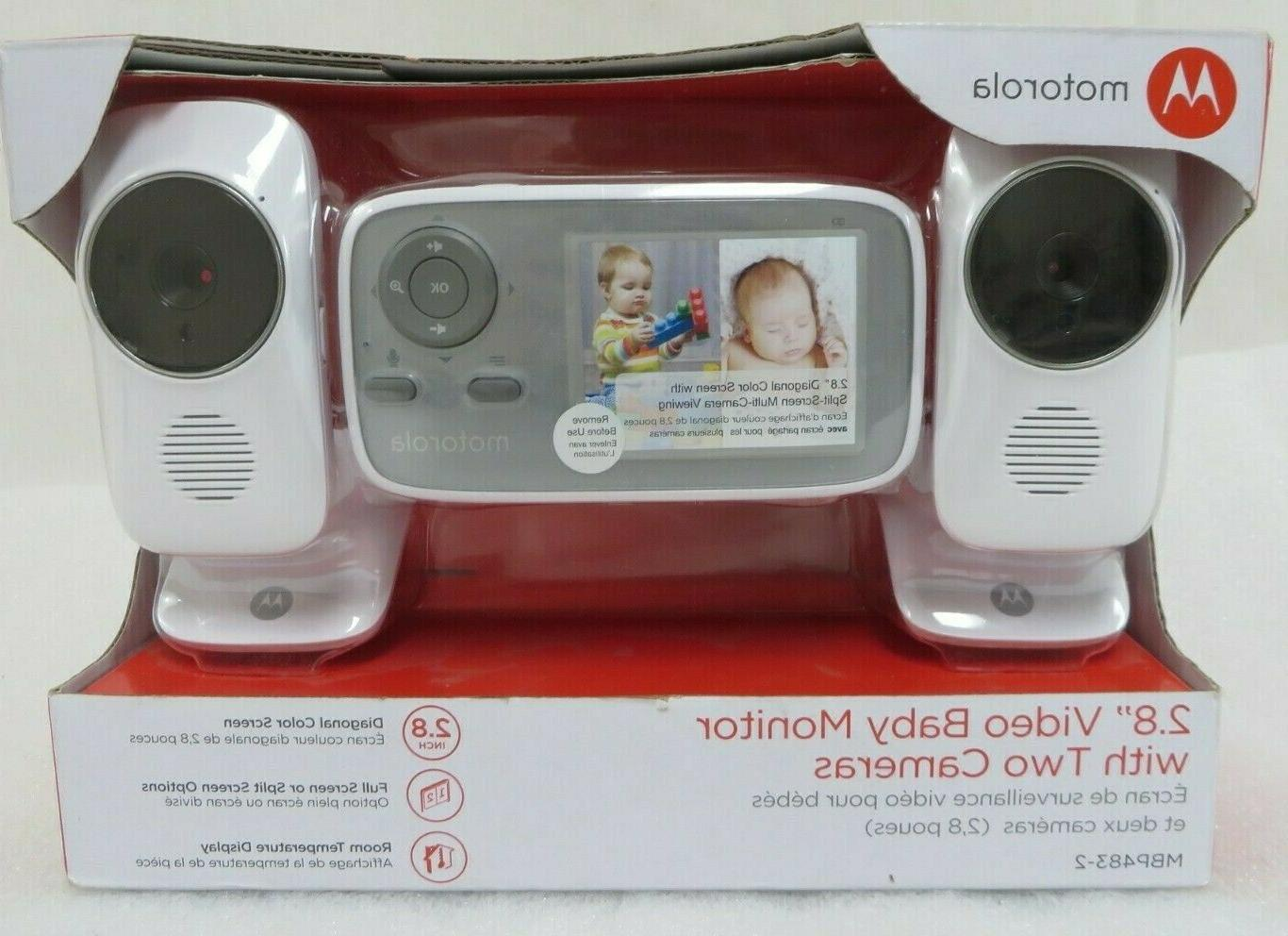 "Motorola MBP483-2 2.8"" Video Baby Infant Monitor with Two Ca"