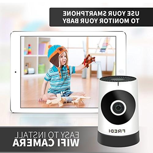 FREDI Baby Monitor Wireless WIFI IP Surveillance Camera 720P HD Security Camera With Two-Way Talking,Infrared Vision,P2P Wps Ir-Cut Camera Motion Loop recording
