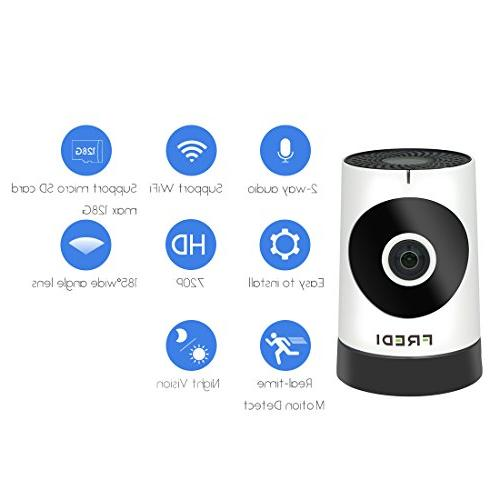 FREDI WIFI 720P HD With Vision,P2P Ir-Cut Camera Motion Detection recording