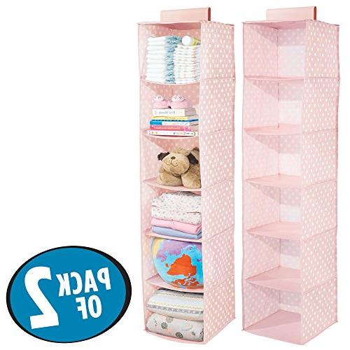 mDesign Soft Closet Hanging Organizer Shelves for Child/Kids Room Nursery - Pattern - - Light Pink White