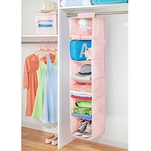 mDesign Soft Closet Rod Hanging Storage Organizer for Child/Kids Pattern - Light Pink with White