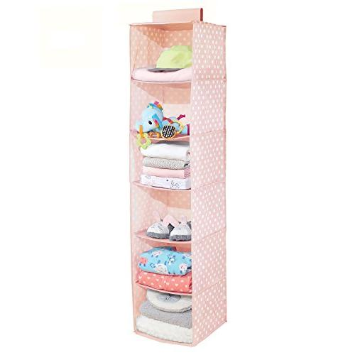 mDesign Closet Rod Hanging Storage Organizer with 6 for Room Nursery Pattern - Pack - Light Pink White Dots