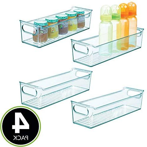 mDesign Organizer Bin Handles for Kids/Child - Holds Baby Free, Long, 4 Pack Sea