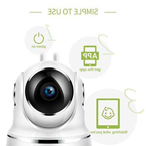 FREDI Security IP Home 720p WiFi Function,Infrared Night WPS Camera 128GB sd
