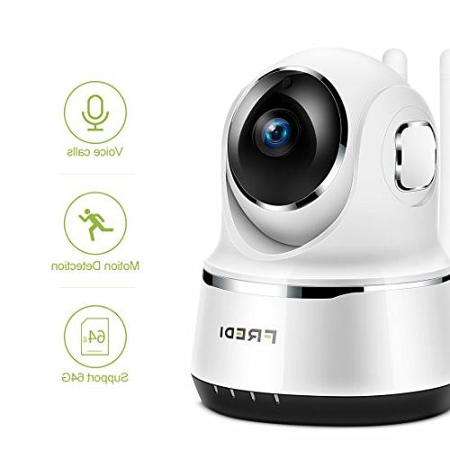 FREDI Security IP Home 720p WiFi Function,Infrared Vision,Pan Tilt,P2P WPS Camera 128GB sd Card