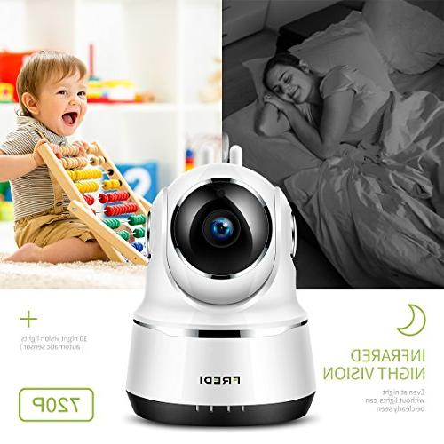 FREDI Baby Security IP Home 720p WiFi Camera Function,Infrared WPS Ir-Cut 128GB sd