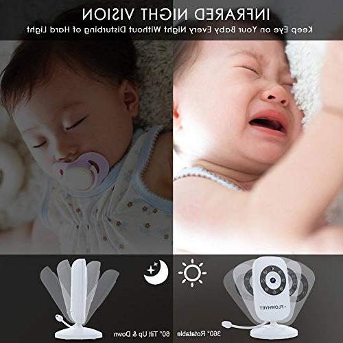 FLOWHYET Baby Monitor, 2-Way Inch Display with Night Power Mode, Monitoring Lullabies