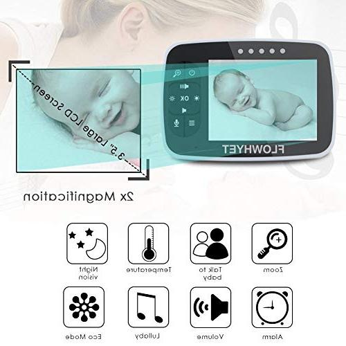 FLOWHYET Monitor, Inch with Camera, Night Power Mode, Monitoring Lullabies