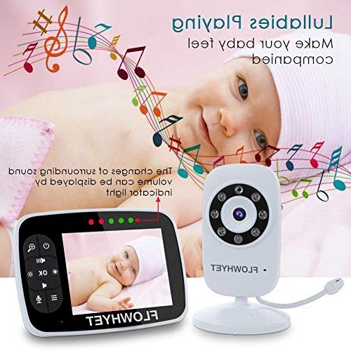FLOWHYET Monitor, Inch Large with Digital Camera, Night Vision, Power Mode, Lullabies