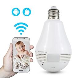 NEXGADGET Wi-Fi Light Bulb Security Camera 960P & 360° Pano
