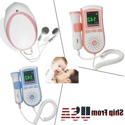 PINK/BLUE LCD Display Pocket Fetal Doppler Prenatal Heart Ba