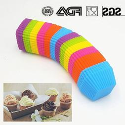 12-Pack Square Silicone Cupcake Muffin Liners Pan Set Jumbo,