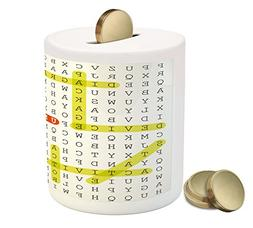 Word Search Puzzle Coin Box Bank by Ambesonne, Unified Model